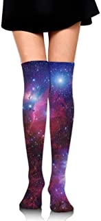 Women Crew Socksc Thigh High Over Knee Space Galaxy Star Nebula Long Tube Dress Legging Sport Compression Soccer Stocking Calcetines largos