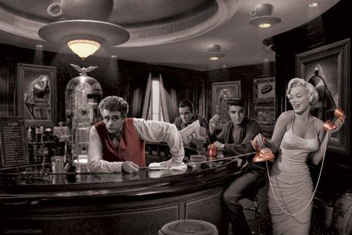 Riesenposter der Hollywood-Legenden Marilyn Monroe, James Dean, Elvis Presley und Humphrey Bogart in einem fantastischem Traum, 61x 91,5cm