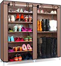 Gadgets Appliances Multipurpose 6 Tier Dual Layer Rack Sutable for Home Office & Outside Shoe Rack and Boot Rack DIY Organiser with Non Woven Dust Proof Space Saving Shoe Storage Organizer (Brown)