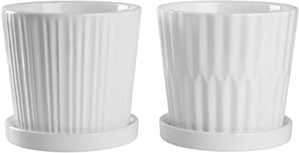 Greenaholics Medium Plant Pots - 6 Inch White Cylinder Ceramic Planters with Attached Saucers, Two Line Grain, Great House and Office Decor, Set of 2