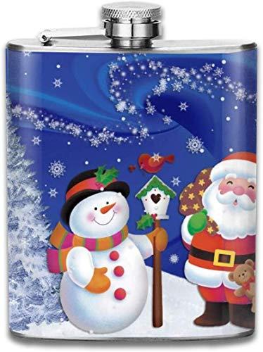 Weihnachtsmann und Schneemann im Freien tragbare 304 Edelstahl auslaufsicher 7 Unzen Topf Flachmann Reisen Camping Flagon für Mann Frau Kolben großes kleines Geschenk