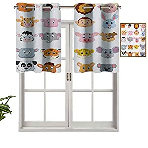 Grommet Top Blackout Curtain Valance Kids Themed Baby Cute Animals Lions Pigs Cows Farm Safari Baby Nursery Room Image, Set of 1, 42″x18″ Window Treatment for Living Room, Short Straight Drape Valance
