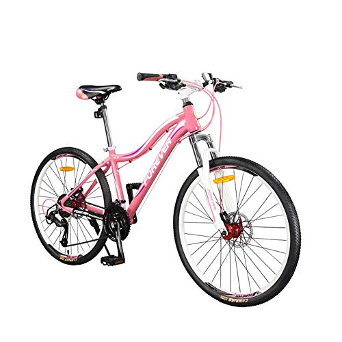 AUTOKS Mountain Bicycle, 26' Wheel Adult MTB Mountain Bike Hardtail Front Suspension Hot Pink Lightweight Alloy Frame 27 Speed