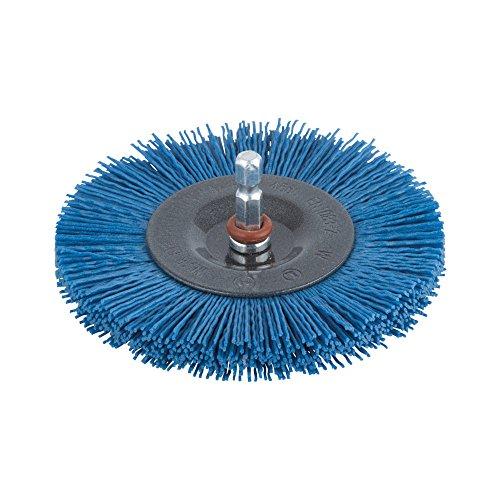 Wolfcraft 2727000 1 Brosse Circulaire Ø 100 mm, Fil Nylon à Grains Fins Longueur 10 mm, Queue 6 Pans 1/4\