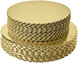 BIG BOX 2 Size Combo 9 inch 10 inch, 8 Piece Total Golden Mousse Cake Boards Cake Paper Plates Dessert Board Base Grease for Wedding Birthday