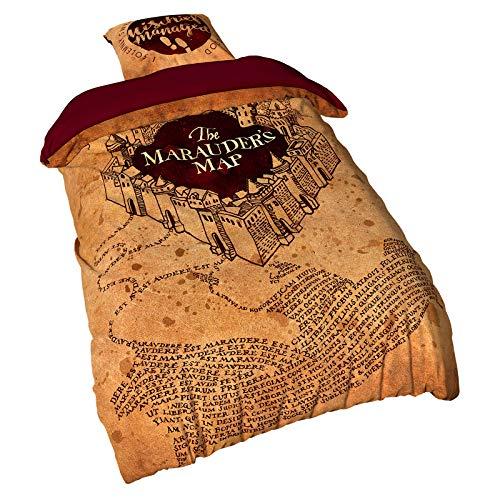 Elbenwald Harry Potter Bettwäsche mit Karte des Rumtreibers Wende-Motiv 2 teilig Kissen 80 x 80 cm und Decke 135 x 200 cm Microfaser beige rot