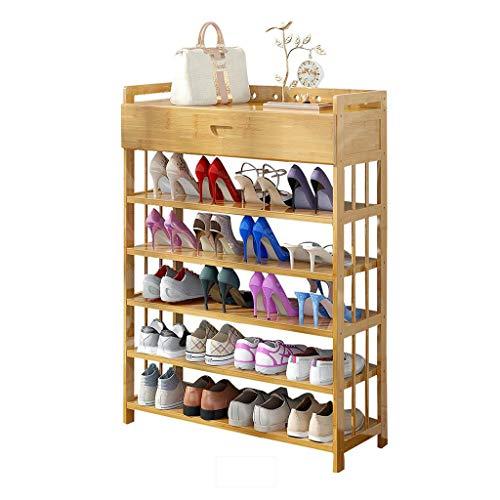 ZZYE Zapatero Rack de Zapatos 5 Niveles de Madera Maciza con cajón Simple Tower Tower Gabinete Pasillo apilable Organizador de bambú Estantes Espacio Ahorro Versátil Perchero Zapatero