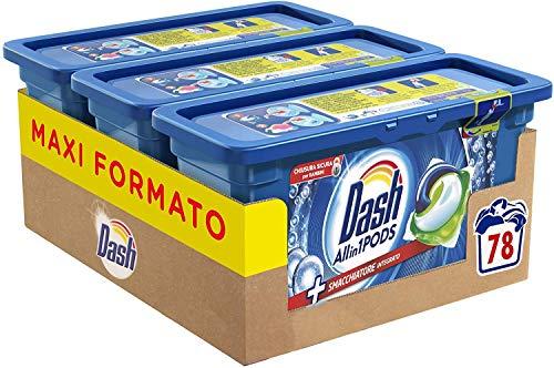 Dash Pods 3 in 1 Detersivo Lavatrice, 78 Monodosi Smacchiatore Integrato, Maxi Formato da 3 x 26 Lavaggi