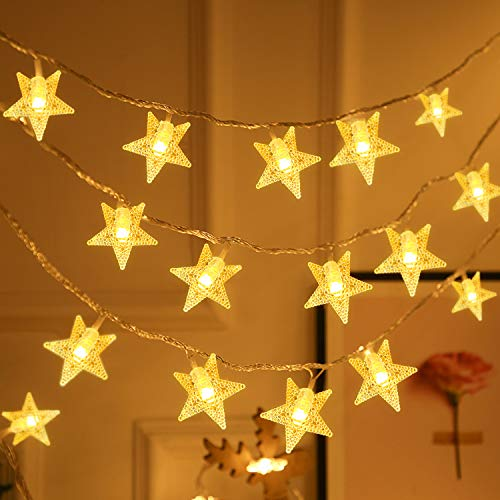 Unihoh Star Fairy Lights with 8 Modes Remote Control, 45 ft 80 LED Battery Powered Twinkle Star String Lights, Waterproof Decorative Lights for Party Wedding Home Christmas and Halloween.(Warm-White)