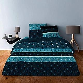 Housse de Couette 100% Coton - 220x240 + 2 taies d'oreiller 65x65 pour lit 2 Places (Arc Deco Bleu)