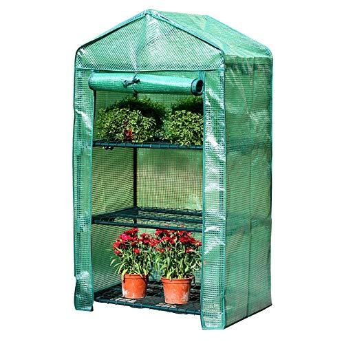 Mini invernadero de plantas de 3 pisos, carpa de invernadero portátil impermeable y a prueba de frío Invernadero de plantación de terraza de jardín con cubierta de cremallera de PE y estante de meta