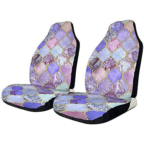 Autostoelhoezen Royal Purple Mauve Indigo Marokkaanse tegelbeschermer kussen universele stoelhoezen