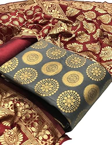 Ethnic Junction Women's Banarasi Silk Unstitched Salwar Suit Dress Material With Dupatta