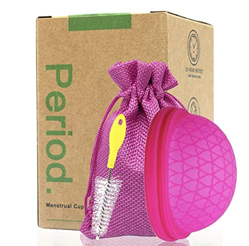 Copa Menstrual Plana de Silicona Suave Flexible...