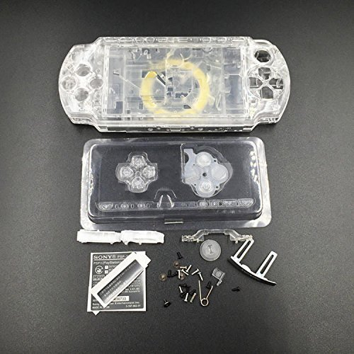New Replacement Sony PSP 2000 Console Full Housing Shell Cover with Buttons Set -Clear White.
