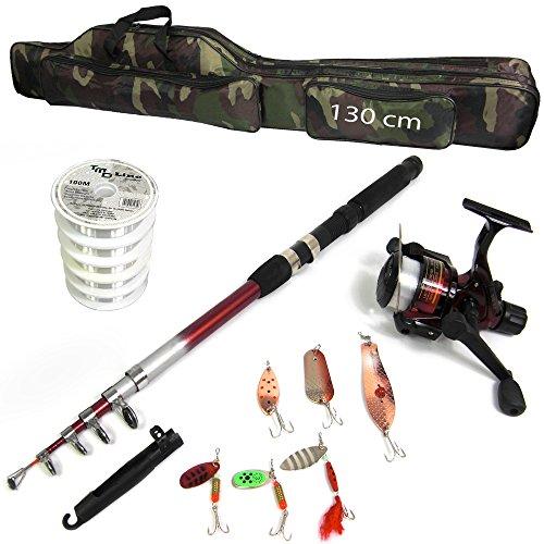 TMD-Line 14-tlg Angel Set mit Schnur 500m - 0,20mm Tasche 130cm Rute 2,40m Rolle FX500 Sehne Blinker