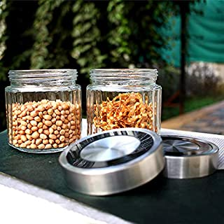 Delcsa DC1076 2Pcs 800ML Lilac Glass Storage Jar 11x12CM-Round Shaped, Healthier Choice, Maximum Freshness and Dishwasher ...