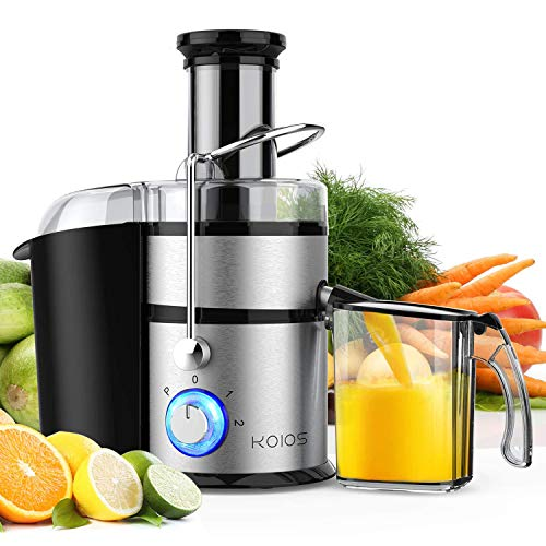 "KOIOS Centrifugal Juicer Machines, Juice Extractor with Big Mouth 3"" Feed Chute, 304 Stainless-steel Fliter, Best Seller Juicer 2020, High Juice yield, Easy to Clean&100% BPA-Free, 1200W&Powerful, Dishwasher Safe, Included Brush"