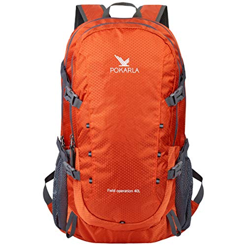 POKARLA 40L Hiking Backpack Lightweight Packable Water Resistant Travel Daypack