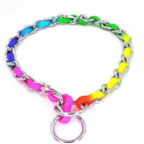 Jwpceu Rainbow Collier de dressage, chaine d'entraînement en acier inoxydable pour animal domestique adaptée pour chiens de petite ou de moyenne taille