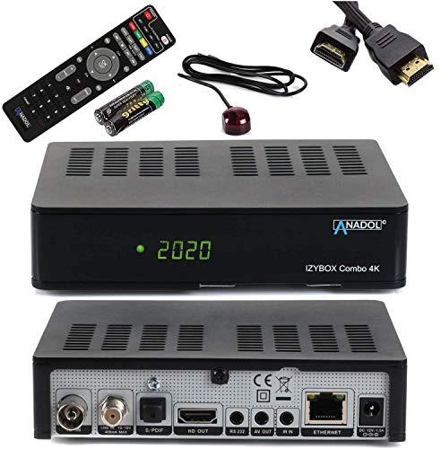 [ Test SEHR GUT *] ANADOL IZYBOX Combo 4K Sat-Receiver, Kabel-Receiver oder DVB-T2-Receiver, DVB-S2X Tuner, Multistream, 2X USB, Astra vorinstalliert, PVR Aufnahmefunktion Timeshift, HDR + HDMI Kabel