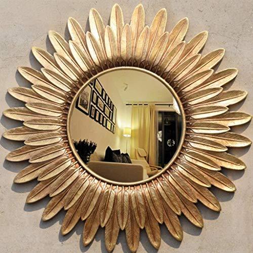 QARYYQ Espejo de Maquillaje Redondo Resina Gafas de Sol American Retro Entrada Sala de Estar baño Espejo de Pared