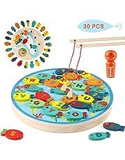 Jacootoys Visserijspel 30 PCS Houten Magnetische Alfabet Letter Bijpassende Speelgoed voor 3 4 5 Jaar Oude Meisjes Jongens Peuter met Magneet Polen