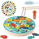 Jacootoys Juego de Pesca 2 en 1 Alfabeto de Madera Carta magnética Juguetes de Pesca 30 Piezas Juegos educativos para niños 3 4 5 años