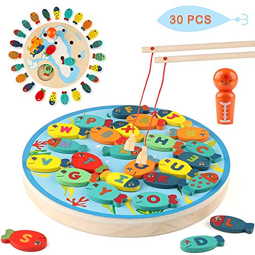 Jacootoys 30 Stück Magnetische Angelspiel, 2 In 1 Holz Alphabet Brief Angeln Spielzeug Tischspiele Geschenk Lernspielzeug für 2 3 Jahren Mädchen Jungen Kinder