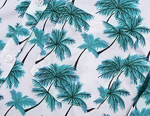 NUTEXROL Hawaiian Shirts Mens Bamboo Print Beach Aloha Party Holiday print1 L