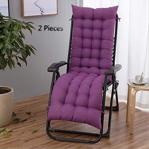 GLLSZ 2 Pieces Patio Chaise Lounger Cushion Indoor Outdoor Chair Cushion Large Rocking Chair Cushion Chair Cushion Sofa Cushion(ONLY CUSHION)-Purple 170x53cm(67x21inch)