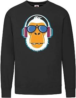 Druckerlebnis24 Sudadera aff gorilla gafas de sol auriculares – Sudadera unisex para niños – niño y niña