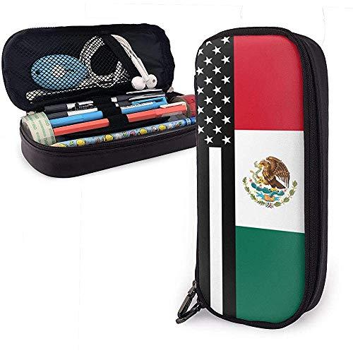 EE. UU. Bandera de México Estuche de lápices Bolsas de lápices escolares Estuche de lápices Estuche de maquillaje Estuche de cosméticos PU Cuero-P7-6W