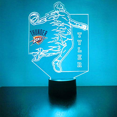 Thunder (Oklahoma City) Basketball Sports Fan Lamp/Night Light - LED - Personalize for Free - Featuring Licensed Decal