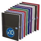 OXFORD Lot de 10 Cahiers Essentials A4 Petits Carreaux 100 Pages Reliure Spirale Couverture Carte Coloris Assortis