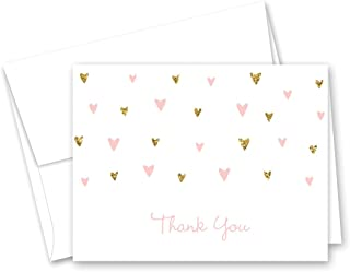 MyExpression.com 50 Cnt Pink Faux Glitter Hearts Baby Shower Thank You Cards