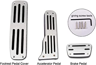 QHCP Car Left Side Aluminum Alloy Foot Rest Pedal Accelerator Pedal+ Brake Pedal Cover Trim Fit for Chevrolet Camaro with Logo