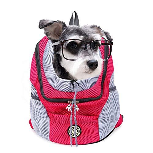 QWET Mochila para Mascotas, Mochila Transparente De Malla Transpirable para Mascotas, Conveniente para Perros PequeñOs Y Gatos,Rojo,11.8 * 13.3 * 6.2in