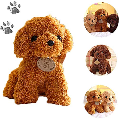 HONESFRIENWL Realistic Teddy Dog Lucky,Teddy Dog Doll Toy -Soft Fabrics Stuffed Animal Doll Perfect Bed Companion Toy for Little Boys, Girls, Kids or Puppy Dog Lovers of All Ages (Hellbraun, 9.8'')