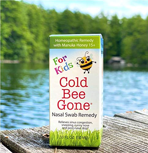 Cold Bee Gone for Kids Nasal Swab Cold and Flu Symptom Remedy w/Manuka Honey - 100+ Doses - All Natural for Kids
