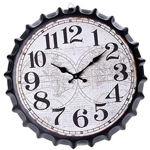 YOSIYO 34cm Bier Soda Kronkorken Wanduhr europäischen Stil Wall Clock,European Metall Restaurant Bar Startseite Café Dekoration Uhr