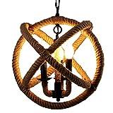 SuRose Globo, Lámpara de Techo de Cuerda de cáñamo Vintage Lámpara Colgante de luz Estilo Rural con Cadena Ajustable Candelabros de luz de Techo E12 / E14