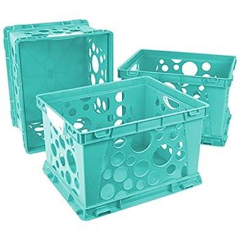 Storex Premium File Crate with Handles 17.25 x 14.25 x 10.5  Teal Case of 3  61694U03C