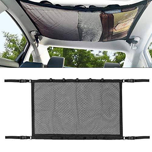 Souarts Auto Gepäcknetz Aufbewahrung Cargo Netz für Auto Decke mit Kordelzug für Vier Dach Armlehnen Double Mesh und Reißverschluss Angelruten-Aufbewahrungsnetz