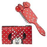 Disney Minnie Mouse Set de Belleza, Incluye Neceser Maquillaje y Cepillo Pelo de Lunares, Bolsa Cosmetica Mujer, Regalos Para Mujer y Chica Adolescente
