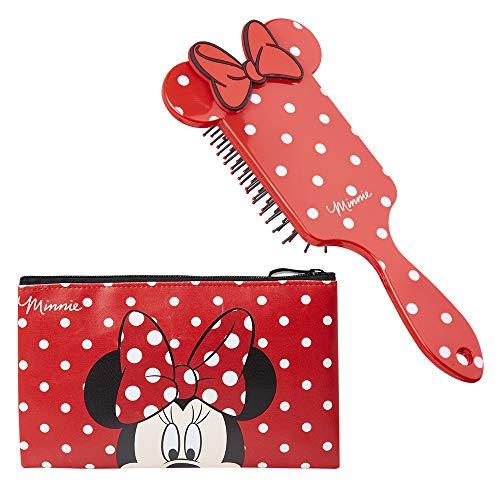 Disney Minnie Mouse Set de Belleza, Incluye Neceser Maquillaje y Cepillo Pelo de Lunares, Bolsa...
