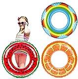 3pcs Pool Tubes, Watermelon Orange Lemon Rainbow Swimming Tube Ring, Inflatable Pool Tubes with 3 Cartoon Swimming Caps for Kids