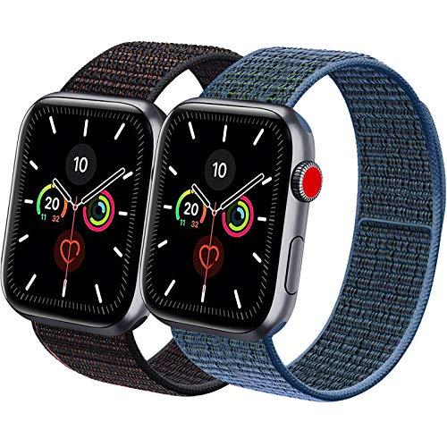 Vancle コンパチブル Apple Watch バンド 38mm 40mm 42mm 44mm ナイロンスポーツループバンド iWatch Series4/3/2/1に対応 (42mm/44mm, 2色セット ミックスブラック+ブルーグリーン)