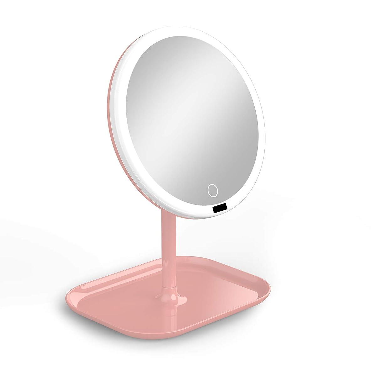 アパート不安定な回復するLa Farah 化粧鏡 化粧ミラー LEDライト付き 卓上鏡 女優ミラー 3段階明るさ調節可能 180度回転 コードレス 充電式 円型