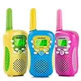 Walkie Talkies for Kids, Kids Toys for 3-12 Years Old with 3KM Range, 2 Way Radio with 22 Channels, Flashlight, LCD Display, Belt Clip, 3 Set Kids Walkie Talkies with Child-Friendly Design-ViviLink